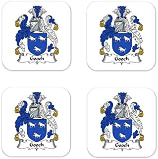 Gooch Family Crest Square Coasters Coat of Arms Coasters - Set of 4