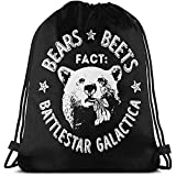 Bears Beets Battlestar Galactica Drawstring Gym Bags Sackpack Hombres Mujeres Athletic Premium Quality Pull String Bag Mochila Para Viajar Yoga Compras Escuela Escuela Entrenamiento Playa