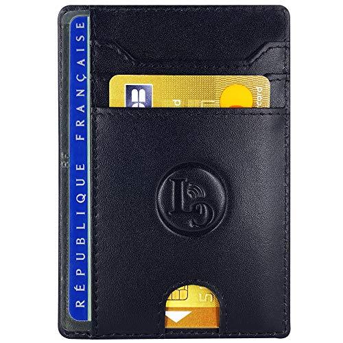 Porte Carte De Credit et Pièce Identité Minimaliste - Protection Cartes Bleue sans Contact - Petit Etui Cuir Slim Protege Contre Le piratage Bancaire - Portefeuille Mince Anti RFID - Cadeau Homme