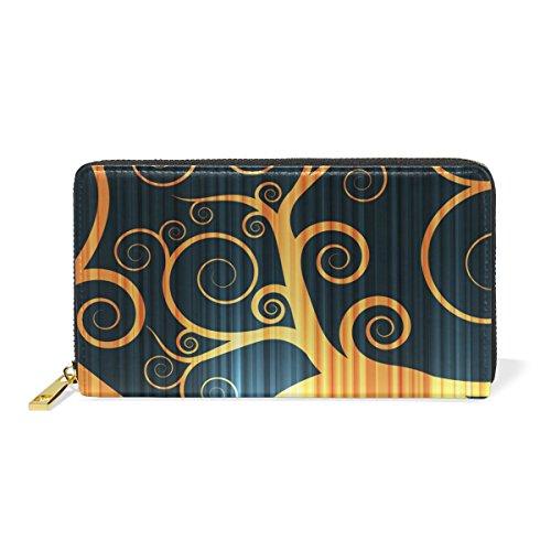 Schwarzer Baum Reißverschluss Brieftasche Echtes Leder Geldbörse Kreditkarteninhaber für Frauen Telefon Mädchen Männer