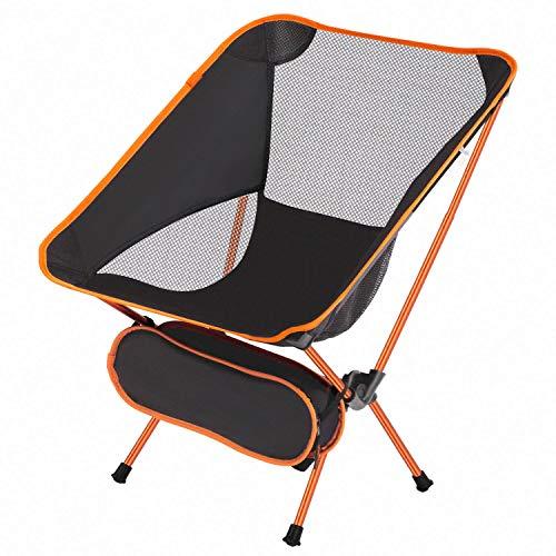 アウトドア チェア キャンプ 椅子 折りたたみ イス コンパクト 超軽量 アルミ合金&オックスフォード生地 耐荷重150kg お釣り・花見・キャンプ・ハイキング・公園・海辺・アウトドアに最適 専用収納バッグ付き (Orange)
