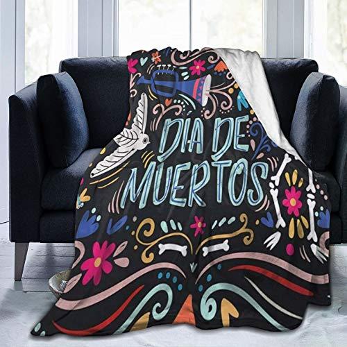 QIUTIANXIU Mantas para Sofás de Franela 150x200cm Dia De Muertos Day of The Dead Mexican Skull Manta para Cama Extra Suave