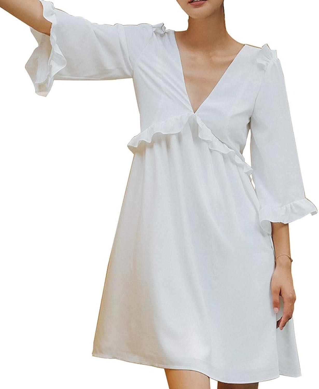 Rock Kleider Kleid rückenfreier rückenfreier Strandrock kurzer V-Ausschnitt Prinzessinkleid mit hoher Größe Sommerfrauen Nachthemd (Farbe   Weiß, Größe   M)  Fabrikverkauf