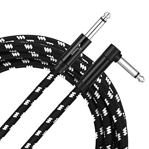 Donner Instrumentenkabel profesionell Lärmschutz Gitarrenkabel 5m mit einseitiger gewinkelter Klinke und 1 Standard Klinke für Gitarre, Bass (Schwarz Weiß)