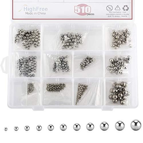 HighFree 510Pcs Metric Precision Chrome Steel Bearing Ball Assortment Kit, 11 Size 2-8mm