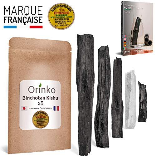 orinko - Binchotan de Kishu Bio 5X (200g) | Authentique Charbon Actif Binchotan Traditionnel du Japon (Wakayama) pour Purification d'eau en Carafe