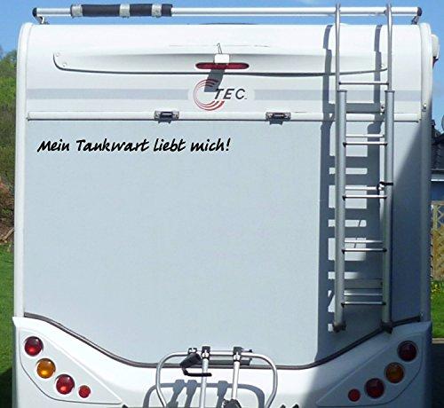 Aufkleber Tankwart liebt mich Wohnmobil Wohnwagen Camper Camping Caravan Auto - 55 cm / Schwarz