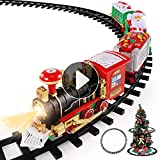 Temi Christmas Train Toys Set Around Tree, Electric Railway Train Set w/ Locomotive Engine, Cars and Tracks, Battery Operated Play Set w/ Lights and Sounds, Christmas Spirit Gift for Kids Boys Girls