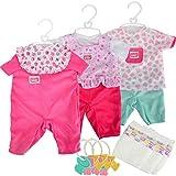 #11 Puppenkleidung für New Born Baby Puppen 38-43 cm 3 Stück - 3X 38-43cm Puppe Kleidung...
