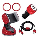 Bling Car Accessories for Women Interior, Glitter Girly Car Accessories, Usb Charging Cable Multi Fast Charge, Usb Car Charger, Phone Holder Diamond Cute Car Gadgets (Red, 5pc Set)