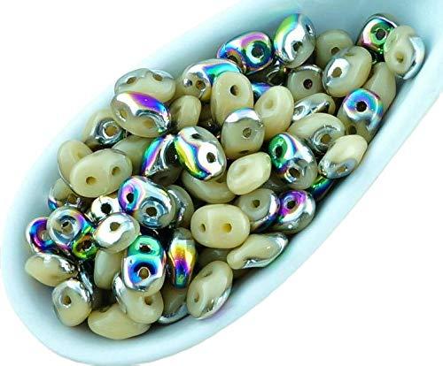 20g Opaque Beige Marron Paon en Pointillés SUPERDUO Verre tchèque Perles de rocaille Deux Trous Super Duo 2.5 mm x 5mm