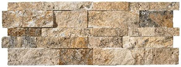 Scabos Travertine Splitface Stacked Ledger Wall Panel 7 in. x 20 in. Natural Stone Tile - 50 pcs / 50 sqf