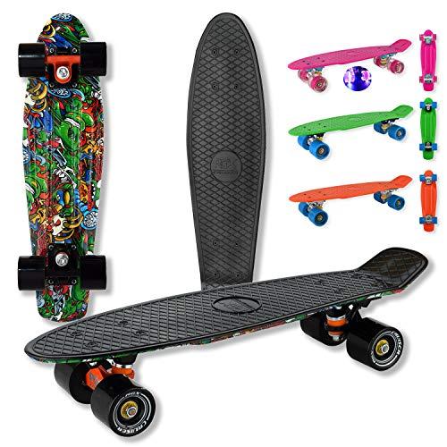 """WeLLIFE – Skateboard RGX Mini Cruiser Completo Doppia Grafica - Skate Board per Bambini Giovani Adulti Principianti 22"""" Ruote in PU Tavola in Plastica Rinforzata Cuscinetto ABEC-7RS (Black 512)"""
