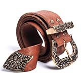 Viking Leather Belt with Norse Styled Brass Buckle & Tip | One-Size-Fits-All Traditional Fit | Ultra Premium Top Grain Brown Leather