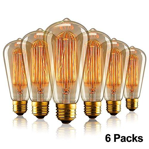 Aurora Bombillas Vintage E27,Bombilla de Filamento Edison 40W,ST64 Tornillo 220V-240V Lámpara de vidrio Filamento de tungsten 2700k Regulable 6Piezas (6 Pack)