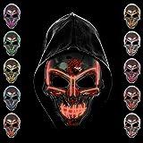 KiraKira Máscara LED Halloween, Halloween LED Máscaras Adultos LED Mask para la Fiesta de...