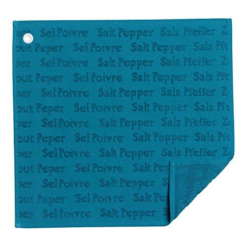Winkler - Essuie-mains carré Sel&poivre avec œillet d'attache – 50x50 cm - Tissu éponge 100% coton absorbant – Chiffon à vaisselle, serviette de nettoyage