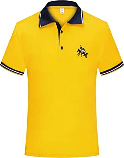 Men's Short Sleeve Polo Shirts, Contrasting Colors Golf Tennis T-Shirt Casual and Comfortable Tee Top, M-8XL (Color : Yellow, Size : 5XL)