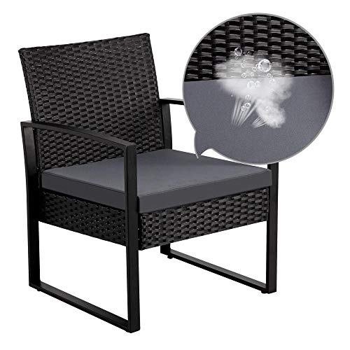 Yaheetech Gartenmöbelset 3 teilig Polyrattan Sitzgruppe Gartengarnitur Balkon-Set Lounge-Set Schwarz mit Sitzkissen - 4