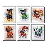 "Cartoons Paw Patrol Puppy Poster Art Prints Modern Art Graffiti Splash Oil Painting Set of 6 (8""X10"" Canvas Picture) Children Boys Birthday Gift Teens Game Room Kids Nursery Home Decor Unframed"