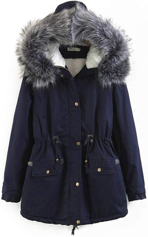 Women's Winter Cotton Coat, Fashion Hooded Jacket, Medium and Long Section (MXXL),XXL