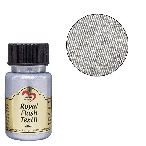 Royal Flash Textil, Glitzer-Metallic-Farbe | hochdeckend, cremige Textilfarbe auf Wasserbasis | für helle und dunkle Textilien | 50 ml (silber)
