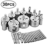 Sunjoyco Diamond Drill Bits, 30 PCS Glass Hole Saw Drill Bit Set Cutting Remover Tools for Glass Porcelain Tile Ceramic Marble Granite Bottles DIY (6mm-50mm)