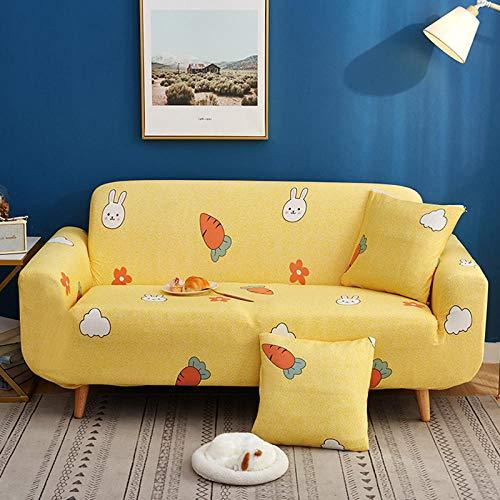 NLADTWLSD Funda de sofá de Alta Elasticidad, impresión Fundas para Sofa Antideslizante Cubierta para Sofa Protector para Sofás Lavable para el Salón (2 Asiento,Amarillo)