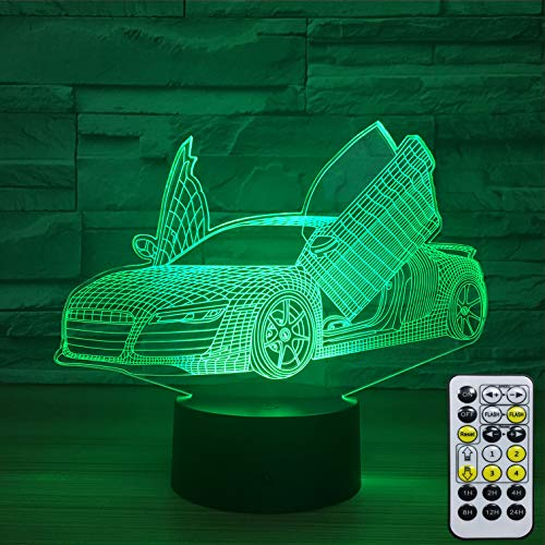 INSONJOHY Sport Car 3D Optical Illusion Lamps Night Lights for Kids 7 Colors Change + Remote Control with Timer Kids Night Light As a Birthday Gift Ideas for Boys (Sport Car )
