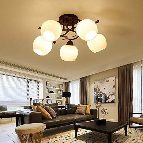 E27 Schlafzimmer Deckenleuchte schwarz Metall Deckenlampe Weiß Glas Lampenschirm Blütenform Design Rustikal Stil Wohnzimmerlampe Esszimmer Lampe Modern Einfache Arbeitszimmer Deco-Lampe