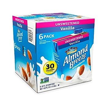 Blue Diamond Almond Breeze Unsweetened Vanilla 32-ounce  Pack of 6