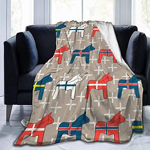ZAlay Dala-Pferde aus Holz - Ultraweiche Micro-Fleece-Decke - Leichte Thermo-Decke