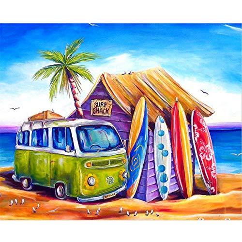 I-WILL Pintar por Numeros Adultos Niños Principiantes para DIY Pintura por Números Pint con 3 Pinceles y Pinturas Acrílica Decoraciones Kit para el Hogar 40 X 50cm - Bus y Tabla de Surf