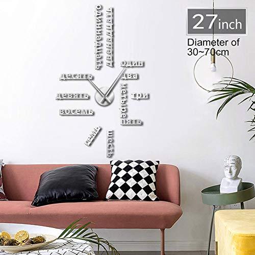 HDNFW Horloge Murale 3D Numéros de Langue sans Cadre Bricolage Grande Horloge Murale Langues étrangères Wall Art Room Decor Temps Horloge Cadeau pour Professeur étranger-37inch