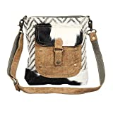 Myra Bag Approach Upcycled Canvas & Cowhide Crossbody Bag S-1349, Brown, One Size