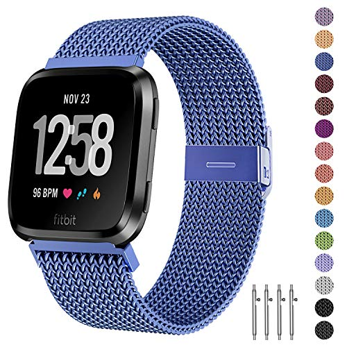 Fitlink Metal Bands Compatible for Fitbit Versa/Versa Lite Edition/Versa 2 Smart Watch for Women and Men,Small and Large, Multi-Color (Diamond Blue, Small)