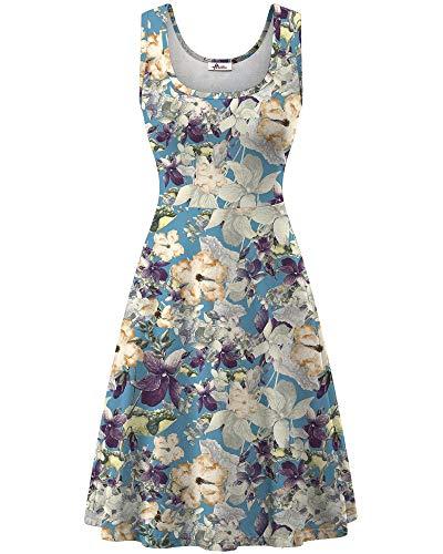 Herou Women Summer Casual Floral Sleeveless A-Line Sun Dresses Flower-67 Small