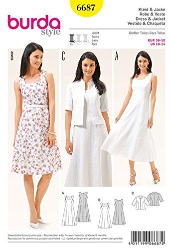 Burda b6687Schnittmuster Kleid und Jacke Papier weiß 19x 13x 1cm