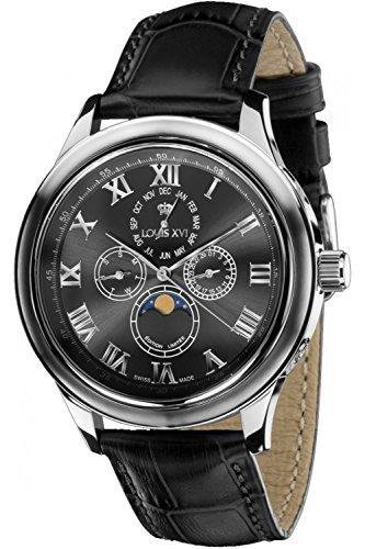 LOUIS XVI Herren-Armbanduhr La Lune le Grand Grau Mondphase Analog Quarz echtes Leder Grau 543
