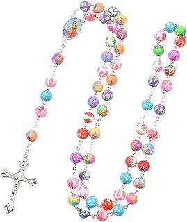 BMBN Ketting Rozenkrans ketting, kleurrijke katholieke rozenkrans ketting polymeer klei ronde kraal onze dame van Mary kru...