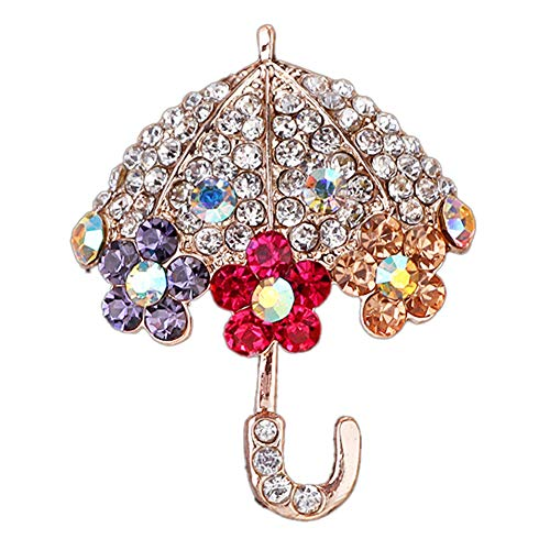 Tennessee526 Women Brooch Pin Decor Gift Dress Accessories Women Fashion Umbrella Flower Rhinestone Inlaid Brooch Pin Jacket Collar