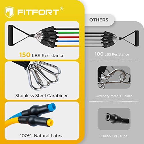 FITFORT Resistance Bands Set, 11 Pack Exercise Bands Stackable up to 150lb, Indoor/Outdoor Workout Bands with Door Anchor & Handles for Fitness, Strength, Slim, Yoga, Home Gym Equipment for Men/Women