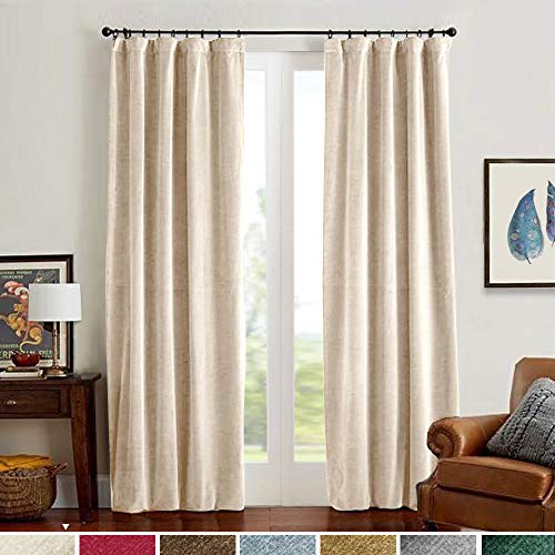 Velvet Curtain Panels Beige Thermal Insulated Rod Pocket Super Soft Luxury Drapes Home Decor Living Room for Bedroom Window Curtains Rod Pocket 2 Panels 84 Inches