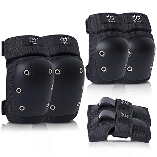 TXJ Sports Adult/Youth Knee Pads Wrist Guards with Elbow Pads Protective Gear Set for Skating Roller Inline Skating Derby Rollerblading Cycling Bike Scooter