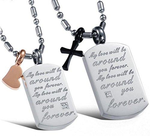 Fengteng Anglais Lettre Carré Tag Carte Titane Acier Cristal Drill Couple Collier Mon Amour Sera Autour de Vous Pour Toujours (hommes)