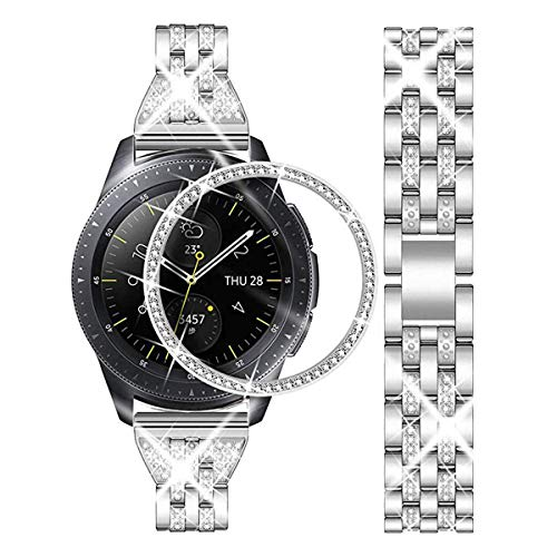 DEALELE - Correa compatible con Samsung Gear Sport/Galaxy Watch 42 mm, 20 mm, acero inoxidable con diamantes, con cubierta de anillo biselado, color plateado