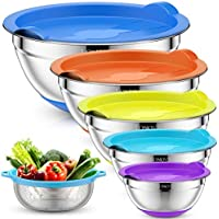 6-Pieces LONOVE Mixing Bowls with Airtight Lids & Colander