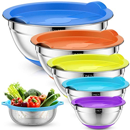 LONOVE Mixing Bowls Set of 5 with Sieve of 1L, 2L, 2.5L, 3.5L, 5L, Stainless Steel Metal Nesting Bowls with Lids, Colorful Non-Slip Silicone Bases, Measuring Marks, Ideal for Kitchen