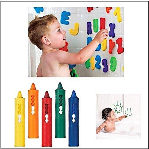 Munchkin Badebuchstaben und Zahlen + Set von Badestiften Badespielzeug geeignet ab 3 Jahren