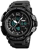 Mens Analog Digital Sports Watches Multifunctional Military 50M Waterproof Alarm Backlight LED Watch (Black)